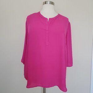 Ellen Tracy Plus Size 3X Hot Pink Top Blouse